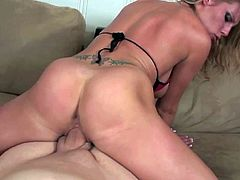 Charisma Cappelli is a fuck hungry hot blonde babe with nice thick ass. She demonstrates her booty as she rides stiff dick reverse in POV scene. Watch her ride guys snake with passion.