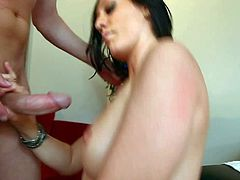 Naked black haired Brooklyn Jade with natural medium tits and average body gets naked for Mark Wood and gives him tight shaved twat to play with for some cash.