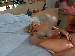 Experienced and cheating blonde milf Julia Ann with huge juicy tits and round bouncing bums seduces Tall Mark Wood. He stuffs her shaved wet twat balls deep in amazing positions.
