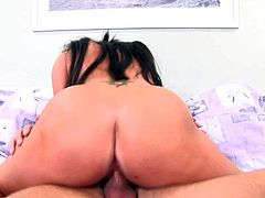 Tempting submissive Cody Lane with long black hair and big round ass gives head to tall lover and rides on his long stiff cock like crazy on a lazy afternoon.