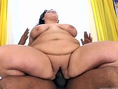 Big, fat and horny, this white whale rides a bbc, like there's no tomorrow! She sucks the black dong and then, goes on top of it, receiving every inch the guy has. Her big butt almost covers him and her bald fat pussy, gets stuffed with his dong. Maybe all she needs now, is a huge load of cum right in her fat, sweet cunt