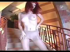Red head whore Tiny Glamour masturbate in solo with her toy as through her sexy panty hose. She will satisfy your cravings with every move she makes. Your manhood surely will get the fantasy it deserves.