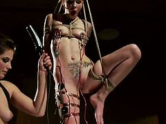 The rope plays that contribute to dominate Krysta Kaos for this bondage session will be helped by Bobbi Starr's kink.