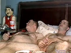 Check out a young stud and his older buddy having fun. He is hungry for a young stiff cock and they start jerking off together to shoot their big jizzloads