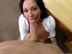 Smoking hot brunette porn model is playing a role of kinky teacher in arousing Brazzers Network porn clip. She gives deepthroat blowjob to her student before getting banged hard doggy style.