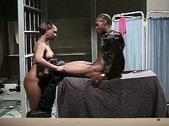 Divine and delicious ebony honey works at the prison hospital and today she is going to have fun with one of the convicts!
