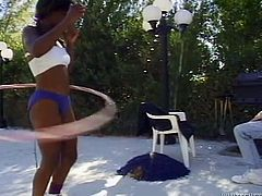 Watch this hot black babe taked off her simwear and stick his cock in to her wet pussy in Fame Digital sex clips.