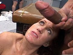 Sex addicted Bailey O'Dare strips her clothes off and shows her juicy boobs. Then she sucks big dicks and gets her pussy destroyed. Eventually she gets her face cum covered.
