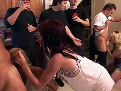 Incredibly hot house party orgy  encounter. These drunk sluts get naughty as they see hard cocks hanging all over the place. Their wet cunts open wide for some horny drilli.