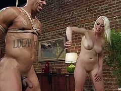 Muscular guy gets tied up by sexy blonde girl. Then he gets his cock and ass whipped with a stick. Later on he also gets his ass destroyed with a strap-on.