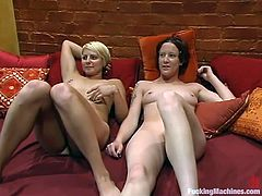 Two lesbian girls lie on a couch and lick each others hot pussies. But that is not enough for them, so they use their fucking machine.