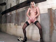 Blonde Lena Cova strips and then masturbates for camera