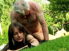 Beauty And The Senior sex clip provides you with a horny sexy and pretty girlie. Slender chick with flossy ass desires to be fucked outdoors. Appetizing nympho with rounded flossy ass seduces an old man, bends over the tree to be fucked from behind. Riding a still strong old cock brings this harlot lots of delight at once.