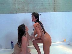 Sexy lesbians Emily Addison and Allison Moore take a shower