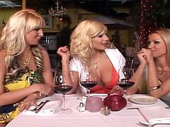 And you are going to be gifted, if you get to watch this hot foursome porn with three lusty milfs. They blow your cock and then share it in their twats.