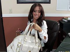 Smoking hot brunette MILF Capri Cavalli seduced her coworker for sex in the office. She gave him a head showing off her professional skills. Later on she got fucked bad doggy style.