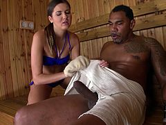 Watch this big black dude with his large cock fucking that sexy and small babe in the sauna in DDF NEtwork sex clips.