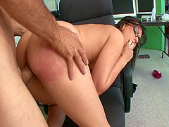This busty secretary was having phone sex. Her older boss caught her and yelled at her before he shoved his big cock inside her dripping wet cunt and fucked her.