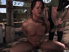 Two brunette hotties Claire Dames and Sara Faye are playing dirty games with some guy outdoors. The man beats and tortures the chicks and enjoys to watch them suffering.