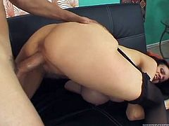 Provocative dark head woman has got giant fake tits and hairy pussy. She is wearing black nylon stocking while fucking hardcore in steamy Fame Digital porn clip. She lies in sideways position keeping her legs closed. She gets poked deep and rough.
