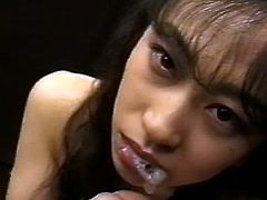 Asian babe swallowing tasty loads