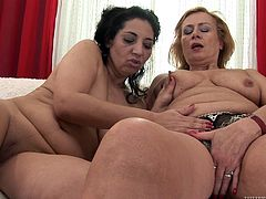 Get a load of this hot lesbian scene where these horny grannies get down and eat one another out as well as masturbating with dildos.