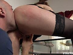 Whorish dark head slut bends over glass table getting her ass and pussy licked from behind. Later on she is penetrated in her pussy hole from behind. She is screwed really hard and rough.