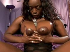 Interracial double penetration for a sassy ebony chick! She manages two huge white cocks that soon will pumps her asshole and her pussy!