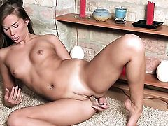 With tiny tits and smooth pussy is on fire in solo scene