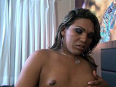 Small tits tranny Ramona reveals us her tight anus and her delicious dick. The bitch plays with her penis in front of us and masturbates. This horny lady boy craves for a dick in her tight ass hole, but until then, let's enjoy the way she burns with passion and masturbates!