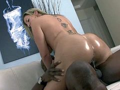 Mature pale blonde whore Sara Jay with gigantic tits and enormous jaw dropping ass rides on tall black stud Rock The Icon with meaty bazooka to loud orgasmic feeling.