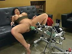 There is a device called a fucking machine and Ava Devine knows how to use it. She oils her petite ass up and enjoys every move of the machine in her asshole!