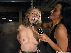 Angelene Black is having BDSM fun with Sandra Romain. She lets Sandra tie her up and then undergoes some tortures and ardent toying.