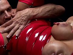 Needy babes in latex costumes are having the same dick to pound them hard in threesome
