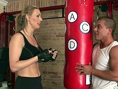 Press play on this hardcore video where this hot boxing blonde is fucked silly by her trainer after she blows her.
