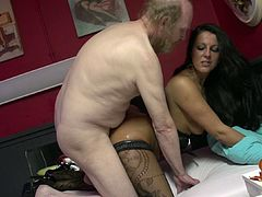 Slutty babe with naughty forms enjoys having hardcore sex with an old stud