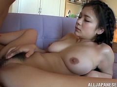 Pretty Japanese chick Kana Tsuruta allows her man to lick and finger her pussy. Then she gives him a blowjob and they fuck in standing and cowgirl positions.