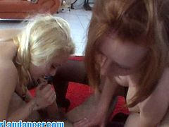 Two fresh Czech amateur girls show off their amazing lapdance skills. They want to suck his cock and switch turns to take it ballsdeep!