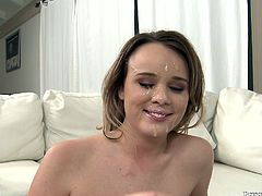 Alexis has a lot of jizz on her face. She's on the film stage and all these guys are filming and photo shooting her. She really has a lot of cum on her pretty face and we have a short chat. I like talking with her like that, makes me remind off how sluts some chick are. Either way, she even gives her twitter address!