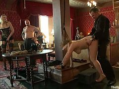 What a nice perversion you will get to see in this video! This petite and kinky blondie gets down on two huge cocks and sucks them deep. The cocks are black, btw!