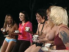 Jenni Lee, Lorelei Lee and other girls are having fun in the garden. They pet each other passionately and then test a fucking machine by turns.