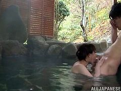 Japanese babe Akari Hoshino with natural tits and wet pussy does a blowjob in a japanese pool by a horny guy in Tokyo, Japan.
