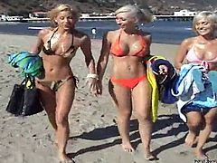 Sexy blonde girls take sunbathes on the beach. Then they go home and have an amazing lesbian threesome there. They toy and lick each others soaking pussies passionately.