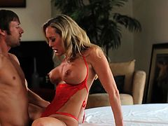 Busty blonde mom gets really wild with her step son during top hardcore