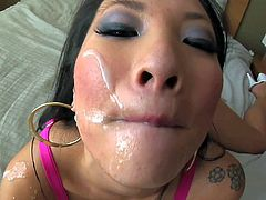 Asa Akira is a cum hungry asian bitch that sucks fat overloaded cock with passion and then drinks cum. Her appetite for sperm is what makes her suck dicks over and over again.