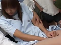 Young asian nurse gets filled with cum during top bukkake porn scene
