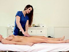 Dani lays on the massage table and makes her masseuse horny. She has a perfect body with a cute ass and big, round boobs that are enough to make everyone crazy for her. The sexy masseuse can't help herself no more and she begins to massage her client in a more unconventional way. Yeah, she massages her pussy now!