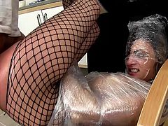 Nasty chick gets ravaged and made to swallow during top pantyhose BDSM scene