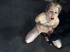 Lovely blonde chick gets gagged and tied up. Then she gets her tits twisted painfully. Later on she gets her pussy toyed with a vibrator and a dildo.