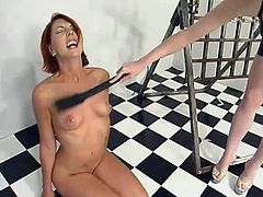 Redhead Ivy gets her ass and boobs whipped by Cowgirl. After that the redhead girl gets toyed with a vibrator.